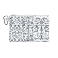 Black And White Ethnic Geometric Pattern Canvas Cosmetic Bag (medium)