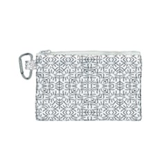 Black And White Ethnic Geometric Pattern Canvas Cosmetic Bag (small)