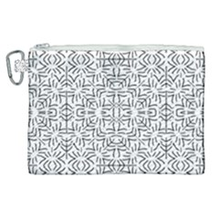 Black And White Ethnic Geometric Pattern Canvas Cosmetic Bag (xl)