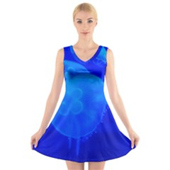 Blue Jellyfish 1 V Neck Sleeveless Skater Dress