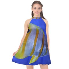 Butterfly Fish 1 Halter Neckline Chiffon Dress