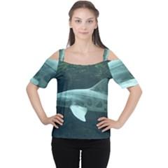 Leopard Shark Cutout Shoulder Tee