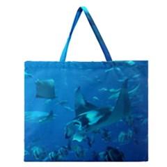Manta Ray 2 Zipper Large Tote Bag