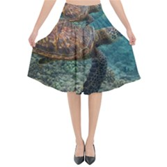 Sea Turtle 3 Flared Midi Skirt