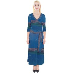 Whale Shark 1 Quarter Sleeve Wrap Maxi Dress