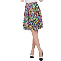 Artwork By Patrick Colorful 6 A Line Skirt
