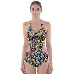 Artwork By Patrick Colorful 6 Cut Out One Piece Swimsuit