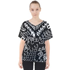 Chicken Hawk Invert V Neck Dolman Drape Top