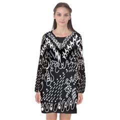 Chicken Hawk Invert Long Sleeve Chiffon Shift Dress