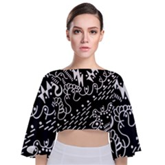 Chicken Hawk Invert Tie Back Butterfly Sleeve Chiffon Top