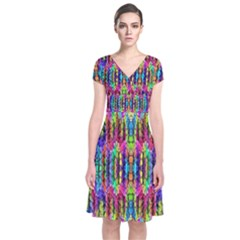 Colorful 7 Short Sleeve Front Wrap Dress
