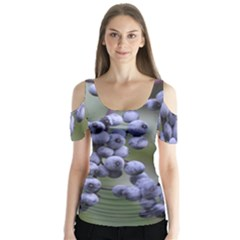 Blueberries 2 Butterfly Sleeve Cutout Tee