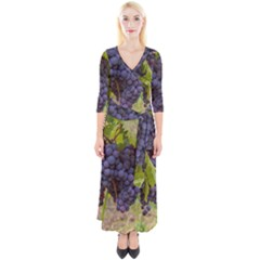 Grapes 4 Quarter Sleeve Wrap Maxi Dress