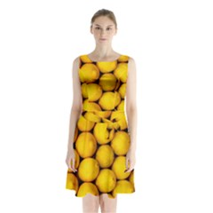Lemons 2 Sleeveless Waist Tie Chiffon Dress