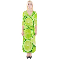 Limes 3 Quarter Sleeve Wrap Maxi Dress