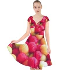 Melon Balls Cap Sleeve Front Wrap Midi Dress