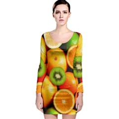 Mixed Fruit 1 Long Sleeve Bodycon Dress