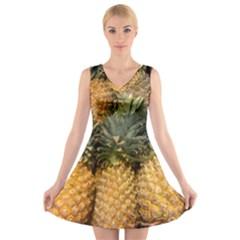 Pineapple 1 V Neck Sleeveless Skater Dress