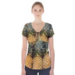 Pineapple 1 Short Sleeve Front Detail Top