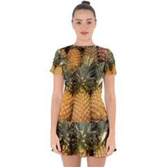 Pineapple 1 Drop Hem Mini Chiffon Dress