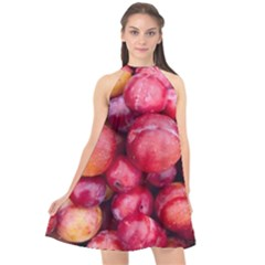 Plums 1 Halter Neckline Chiffon Dress