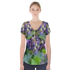 Grapes 2 Short Sleeve Front Detail Top