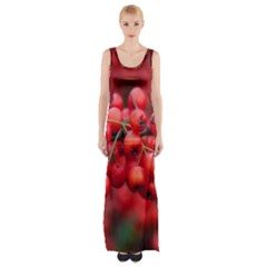 Red Berries 1 Maxi Thigh Split Dress