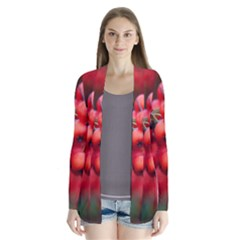Red Berries 1 Drape Collar Cardigan