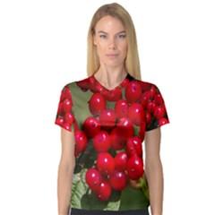 Red Berries 2 V Neck Sport Mesh Tee