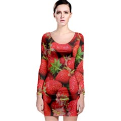 Strawberries 1 Long Sleeve Bodycon Dress