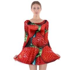 Strawberries 3 Long Sleeve Skater Dress