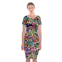 Artwork By Patrick Colorful 8 Classic Short Sleeve Midi Dress