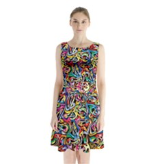 Artwork By Patrick Colorful 8 Sleeveless Waist Tie Chiffon Dress