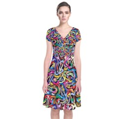 Artwork By Patrick Colorful 8 Short Sleeve Front Wrap Dress