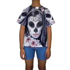 Day Of The Dead Kids  Short Sleeve Swimwear
