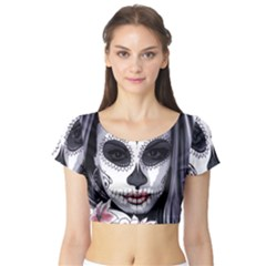 Day Of The Dead Short Sleeve Crop Top