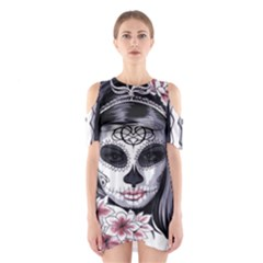 Day Of The Dead Sugar Skull Shoulder Cutout One Piece