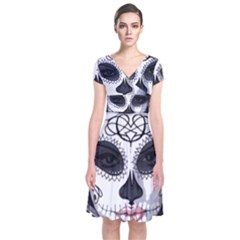 Day Of The Dead Sugar Skull Short Sleeve Front Wrap Dress