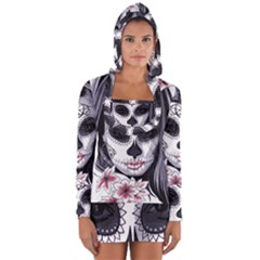 Day Of The Dead Sugar Skull Long Sleeve Hooded T Shirt