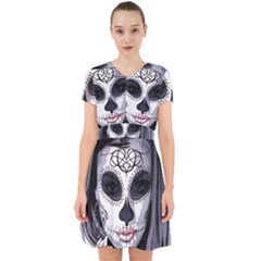 Day Of The Dead Sugar Skull Adorable In Chiffon Dress