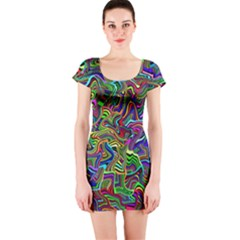 Artwork By Patrick Colorful 9 Short Sleeve Bodycon Dress