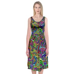 Artwork By Patrick Colorful 9 Midi Sleeveless Dress