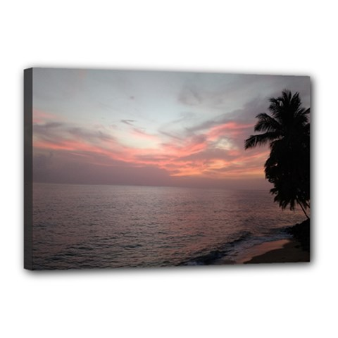 Red Sunset Rincon Puerto Rico Canvas 18  X 12