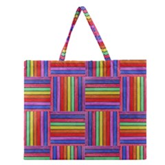 Artwork By Patrick Squares Zipper Large Tote Bag