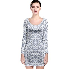 Radial Mandala Ornate Pattern Long Sleeve Bodycon Dress