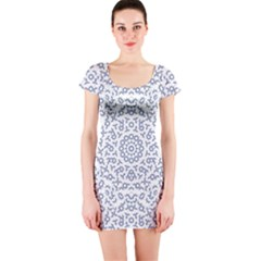 Radial Mandala Ornate Pattern Short Sleeve Bodycon Dress