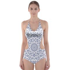 Radial Mandala Ornate Pattern Cut Out One Piece Swimsuit