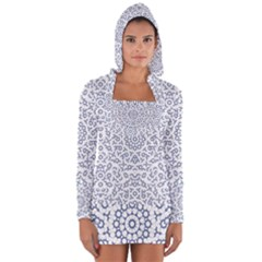 Radial Mandala Ornate Pattern Long Sleeve Hooded T Shirt