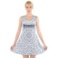 Radial Mandala Ornate Pattern V Neck Sleeveless Skater Dress