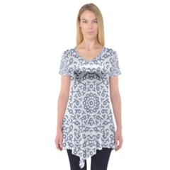 Radial Mandala Ornate Pattern Short Sleeve Tunic